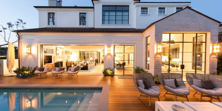 port-street-mid-century-modern-pool-deck-evening-panorama